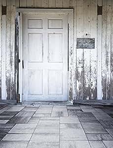 Rustic Indoor Photography Backdrop Children White Wood Door Vintage Wooden Wall Gray Floor Photo Studio Booth