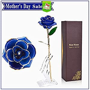 TURNMEON Mother's Day Rose Gifts for Mom 24k Gold Rose Flower, Everlasting Real Rose Dipped in Gold Forever Flower (Moon Stand & Gift Box) 9