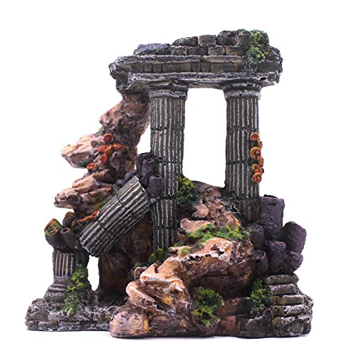 M2cbridge Aquarium Background Column Rock Ruins Plants Decor by M2cbridge