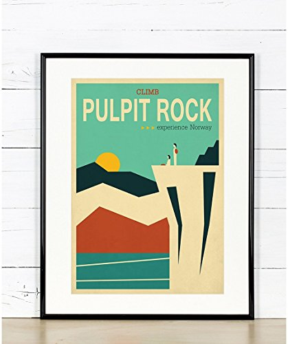 (Travel poster, Pulpit Rock, Norway, Scandinavia, landscape, mountains, retro art print)