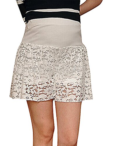 US&R, Women's Black White Lace Overlay Secret Fit Belly Maternity Skirt Shorts, White 8 ,Manufacturer(XL)