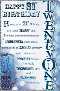 21st Birthday Birthday Card - `Happy 21st Birthday` - Male ...