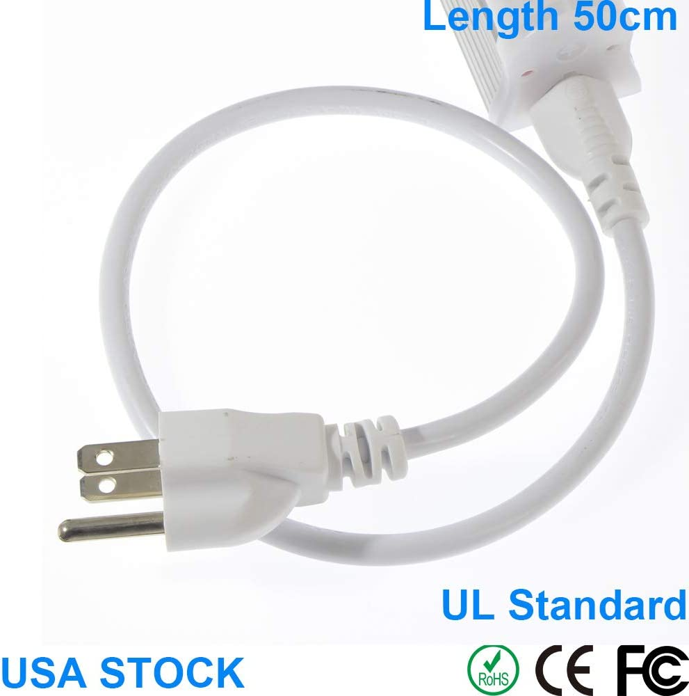 AIEASY 10pack White LED Tube Power Extension Cord with 3 prong plug T5/T8 LED Wire Connector Power Cord