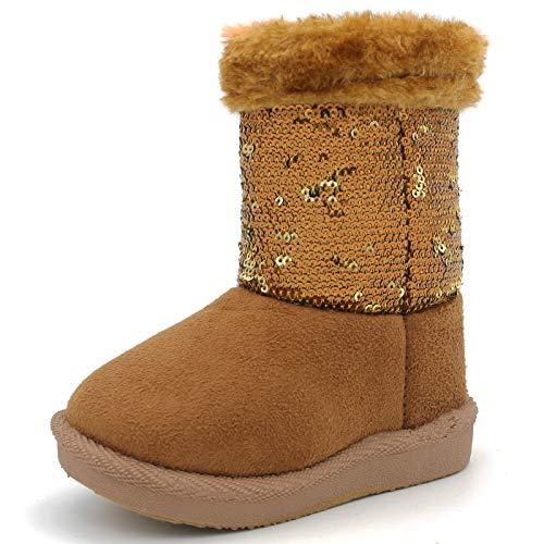 Suburb Basic Toddler Baby Girl Winter Warm Flat Boots Sequin Anti-Slip Zipper Faux-Fur Lining (9 M US Toddler, Tan) (Basic Glitter)