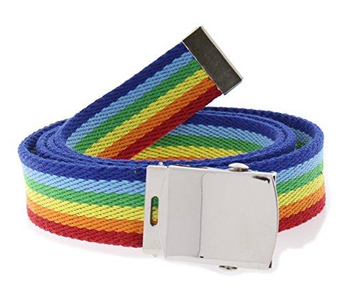 Unisex Gay Pride Rainbow Stripe Canvas Adjustable Belt /& Silver Buckle One Size