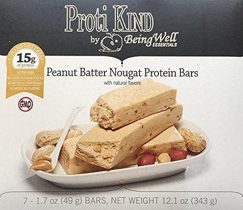 Proti Kind Bariatric Very Low Carb, Low Fat, Low Sugar - Bars Full Case of 84 bars - 12 boxes of 7 each bars - (Peanut Batter Nougat)