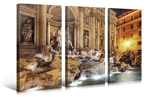 Large Canvas Print Wall Art – TREVI FOUNTAIN – 48x30 in (3 pcs) Cityscape Canvas Picture Stretched On A Wooden Frame – Giclee Canvas Printing – Hanging Wall Deco Picture / (Abstract Modern Fountain)
