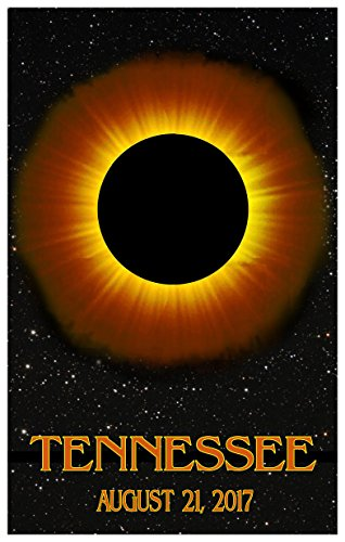 Tennessee Solar Eclipse Giclee Travel Art Poster (12 x 18 inch) Art Print for Bedroom, Family Room, Kitchen, Dorm Room or Office Wall - Portland In Malls Maine