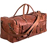 KPL 30 Inch Large Leather Duffel Travel Duffle Gym Sports Overnight Weekender Bag (Two Pocket)