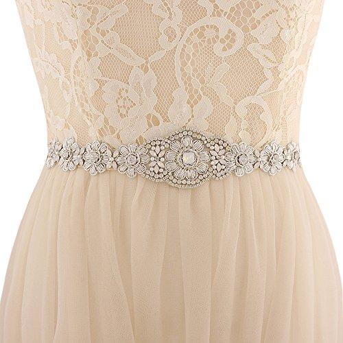 - TRiXY Vera Wang Rhinestone Belt for Dress Wide Wedding Belt Dresses Belt for Bridesmaid Wedding Belts for Women (white)