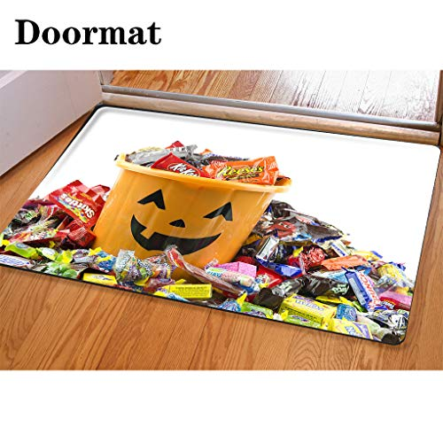 HooMore 3D Printing and Dyeing,Bathroom Carpet, Door mat,Orange Plastic Halloween Bucket Filled and Overflowing with Candy Flannel Foam Shower mat, Absorbent Kitchen Door Carpet