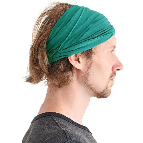 (CHARM Casualbox mens Elastic Bandana Headband Japanese Long Hair Dreads Head wrap Green )