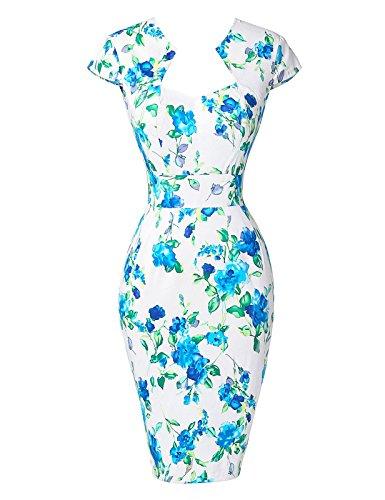 GRACE KARIN Vestido Vintage Lápiz Floral Vestido de Lunares Manga Corta ES7597 8#