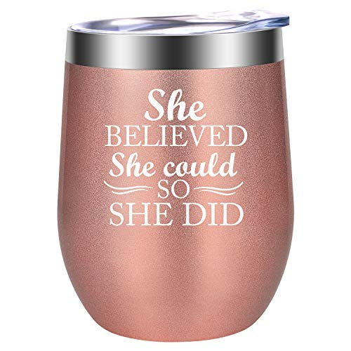She Believed She Could so She Did - Funny Congratulations, Going Away, Farewell, Job Promotion, Phd Graduation, Bestie Birthday Gifts for Women, Coworkers, Friends - LEADO Inspirational Wine Tumbler