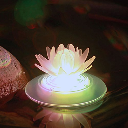 Obell Solar Floating Lights Outdoor Waterproof LED Color Changing Garden Lights Floating Pool Pond Lights Decoration(1 Pack) (Lotus)