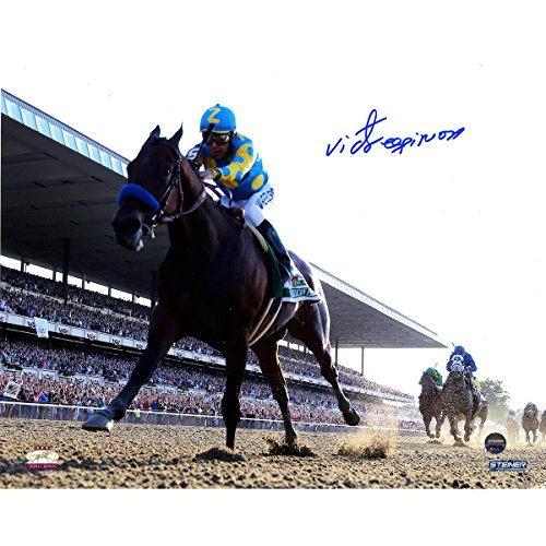 Victor Espinoza Signed American Pharoah Leads The Pack 2015 Belmont Stakes 8x10 Photo by Steiner Sports