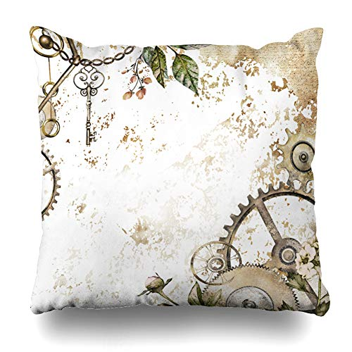 Ahawoso Throw Pillow Covers Key Watercolor Steam Punk Clockwork Leaves Glod Herbs Vintage Clock Botanical Chain Collage Gold Home Decor Pillowcase Square Size 18