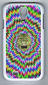 Samsung Galaxy S4 Case and Cover- Psychedelic Cat PC Hard Case for Samsung Galaxy S4 / SIV/ I9500 White
