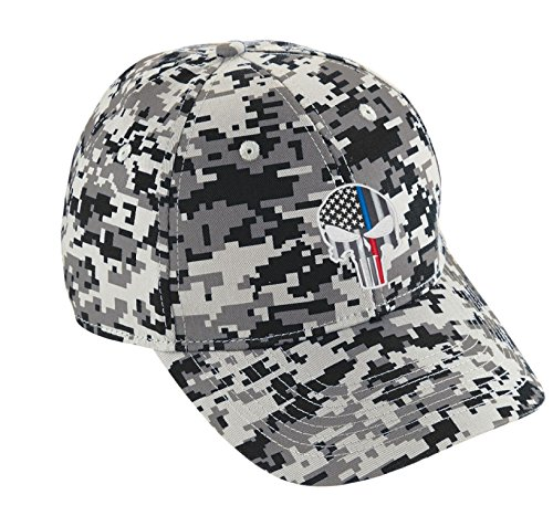 Embroidered Thin Blue RED Line Skull Punisher Police Firefighter Digital Camo Baseball Cap Hat