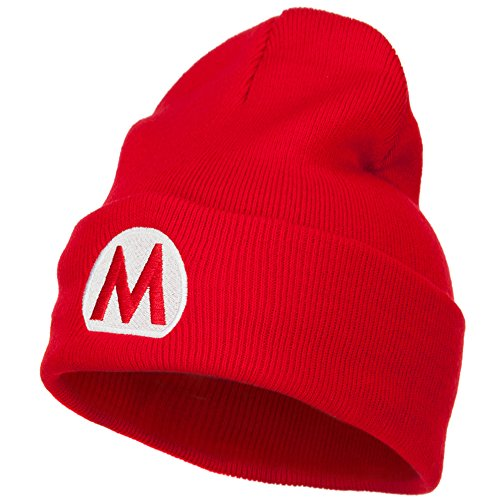 (E4hats Mario Luigi Wario Waluigi Embroidered Long Beanie - Red OSFM)