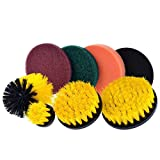Aurorax 1 Drill Brush Scrub Pads 8 Piece Power Scrubber Cleaning Kit All Purpose Cleaner Scrubbing Cordless Drill for Cleaning Pool (Multicolor)