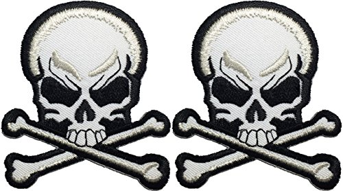 Set 2 of Skull Cross Bones Black & White Logo Ghost Skeleton Outlaw Biker Punk Ride Hippie Rock Heavy Metal Motorcycle Jacket Vest Sew Iron on Embroidered Badge Sign Costume