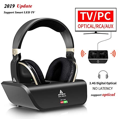 Wireless TV Headphones Over Ear, Ansten Digital Stereo Headsets with Charging Dock, 2.4GHz RF Transmitter, NO Latency 20H Playtime, for TV PC Mobile MP3