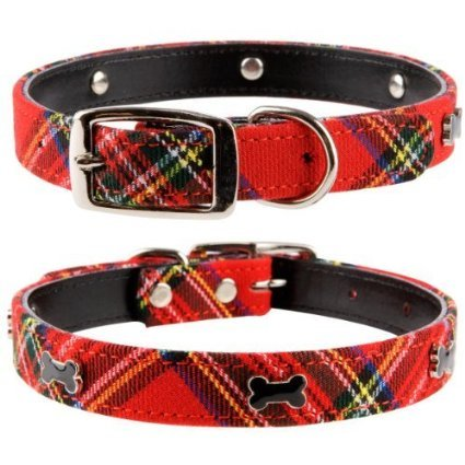 Collars Terrier Scottish (Pet Palace Plaid Tartan Scottie Dog Luxury Dog Collar for Pets Proud of Their Heritage (Rascal RED, Medium) Length 45cm Width 2cm Thickness 0.4 Fits Neck: 31cm - 39cm (12.2-15.3 inch))