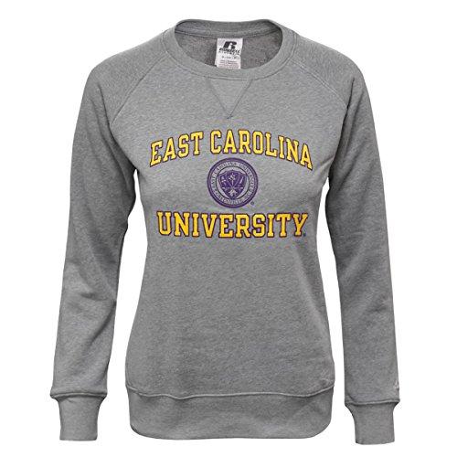 Russell Athletic ECU Grey Crew Neck Sweatshirt with East Carolina University and Seal Graphic (Medium)