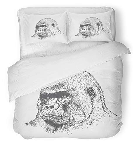 Emvency 3 Piece Duvet Cover Set Breathable Brushed Microfiber Fabric Sketch Gorilla Portrait Detailed Style White Drawn Hand Monkey Africa African Bedding Set with 2 Pillow Covers King Size ()