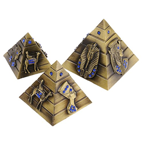 Homyl 3pcs/set Metal Pyramids Building Model Egypt Tower Landmark Home Ornaments