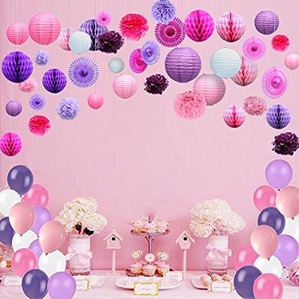 Kubert 93 Pcs Pink White Purple Party Decorations Including Paper Tissue Pompoms