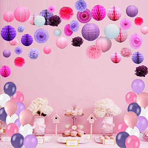 Kubert 93 Pcs Pink White Purple Party Decorations Including Paper Tissue Pompoms, Paper Tissue Pompoms, Paper Fan Flower, Paper Lantern & Balloons for Birthday, Baby Shower, Bridal, Weddings & More