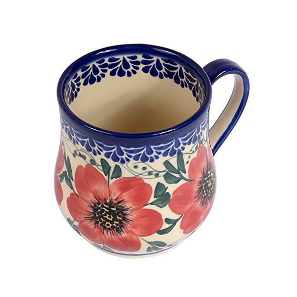Traditional Polish Pottery, Handcrafted Ceramic Drop-shaped Mug (350 ml /12.3 fl oz), Boleslawiec Style Pattern, Q.102.MALLOW