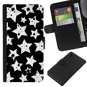 KLONGSHOP // Tirón de la caja Cartera de cuero con ranuras para tarjetas - Blanco Modelo de estrellas - Sony Xperia Z1 L39 //