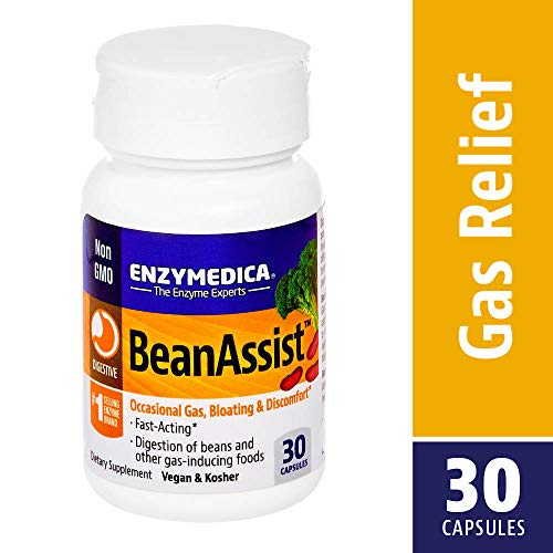 (Enzymedica - BeanAssist, Rapid Response Enzyme Support to Help Relieve Occasional Gas, Bloating, and Discomfort, 30 Capsules)