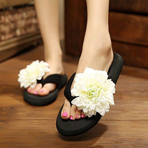 Sommer-Dame-Pantoffel-Steigung mit Art und Weise rutschfeste große reizende Blumen-Strand-Schuhe ( Farbe : B , größe : EU37/UK4.5-5/CN37 ) C
