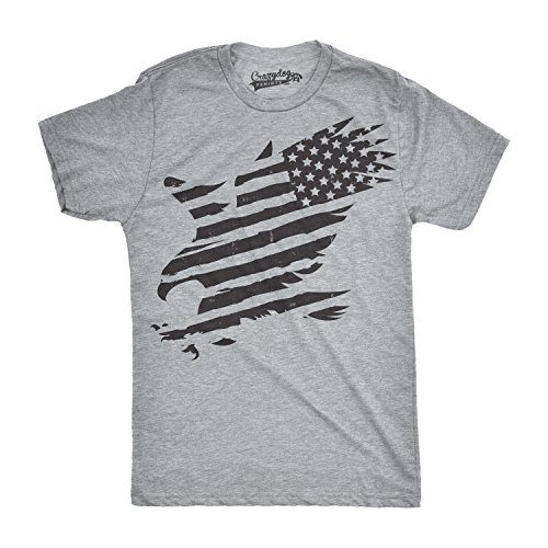 (Mens Merican Eagle Funny T Shirts American Pride Cool Vintage Novelty USA T Shirt (Heather Grey) - XL)