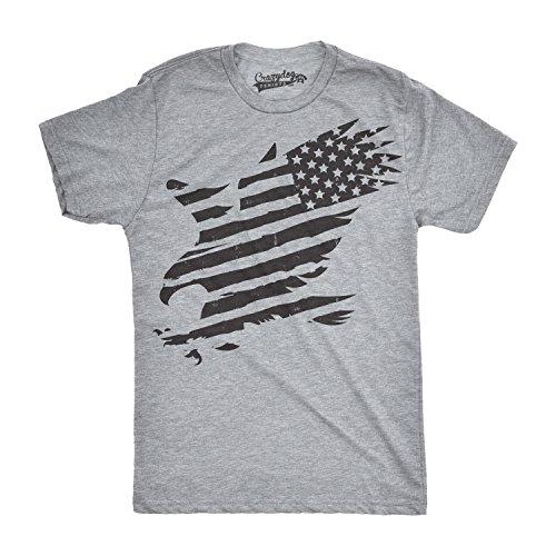 Crazy Dog T-Shirts Mens Merican Eagle Funny T Shirts American Pride Cool Vintage Novelty USA T Shirt (Grey) XL