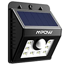 Mpow Solar Powerd Wireless 8 LED Security Motion Sensor Light w/ 3 Intelligient Modes,Weatherproof,Exterior Security Lighting Outdoor Wall/Garden Lamp/Motion Sensor-Detector Activated/For Patio,Deck,Yard,Garden,Home,Driveway,Stairs,Outside Wall
