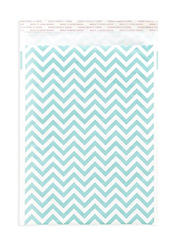 Bubble Mailers 9x12 (8.2x12 interior) - Kraft Paper Padded Envelopes – Blue Chevron Pattern - Packs of 25-1000 (200) by Inspired Mailers