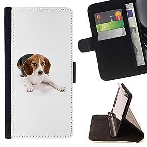 KingStore / Leather Etui en cuir / Samsung Galaxy S4 Mini i9190 / Beagle raposero perro blanco del animal doméstico