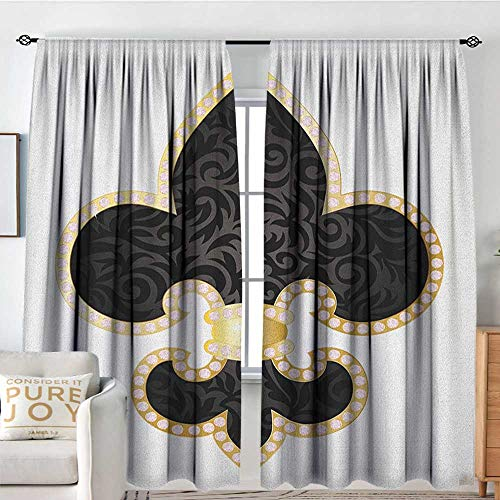 NUOMANAN Curtains for Living Room Fleur De Lis,Royal Legend Lily Throne France Empire Family Insignia of Knights Image, Black Gold White,Darkening and Thermal Insulating Draperies 120