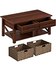 Rolanstar Coffee Table with Storage, Rustic Coffee Table with Drawers, Baskets and Open Shelf, Farmhouse Central Table for Living Room, Espresso
