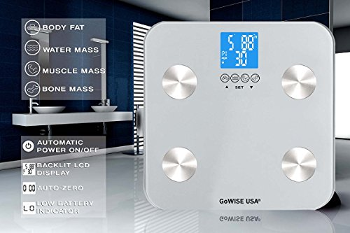 GoWISE USA Digital Body Fat Scale - FDA Approved - Measures Weight, Body Fat, Water & Bone Mass, 400 lbs Capacity, Tempered Glass (Silver)