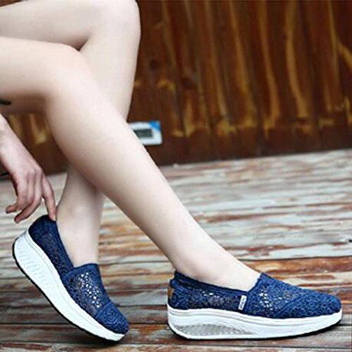 GFONE Women's Lace Hollow Floral Wedge Platform Loafers Running Trainers Walking Fitness Sneakers Casual Shoes Slip On Blue 153Pk