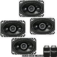 Kicker DSC460 4x6-Inch (100x160mm) Coaxial Speakers, 4-Ohm bundle