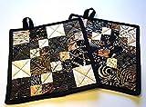Boho Style Batik Quilted Patchwork Pot Holders Set