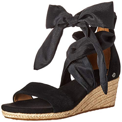 UGG Women's Trina Wedge Sandal, Black, 10 M US
