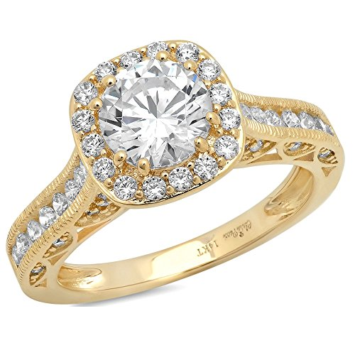 Clara Pucci 2.0 CT Round Cut CZ Pave Halo Wedding Bridal Engagement Ring Band 14k Yellow Gold, Size 8